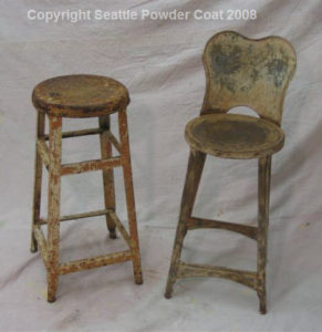 Rusty Stools Prior To Stripping And Powder Coating